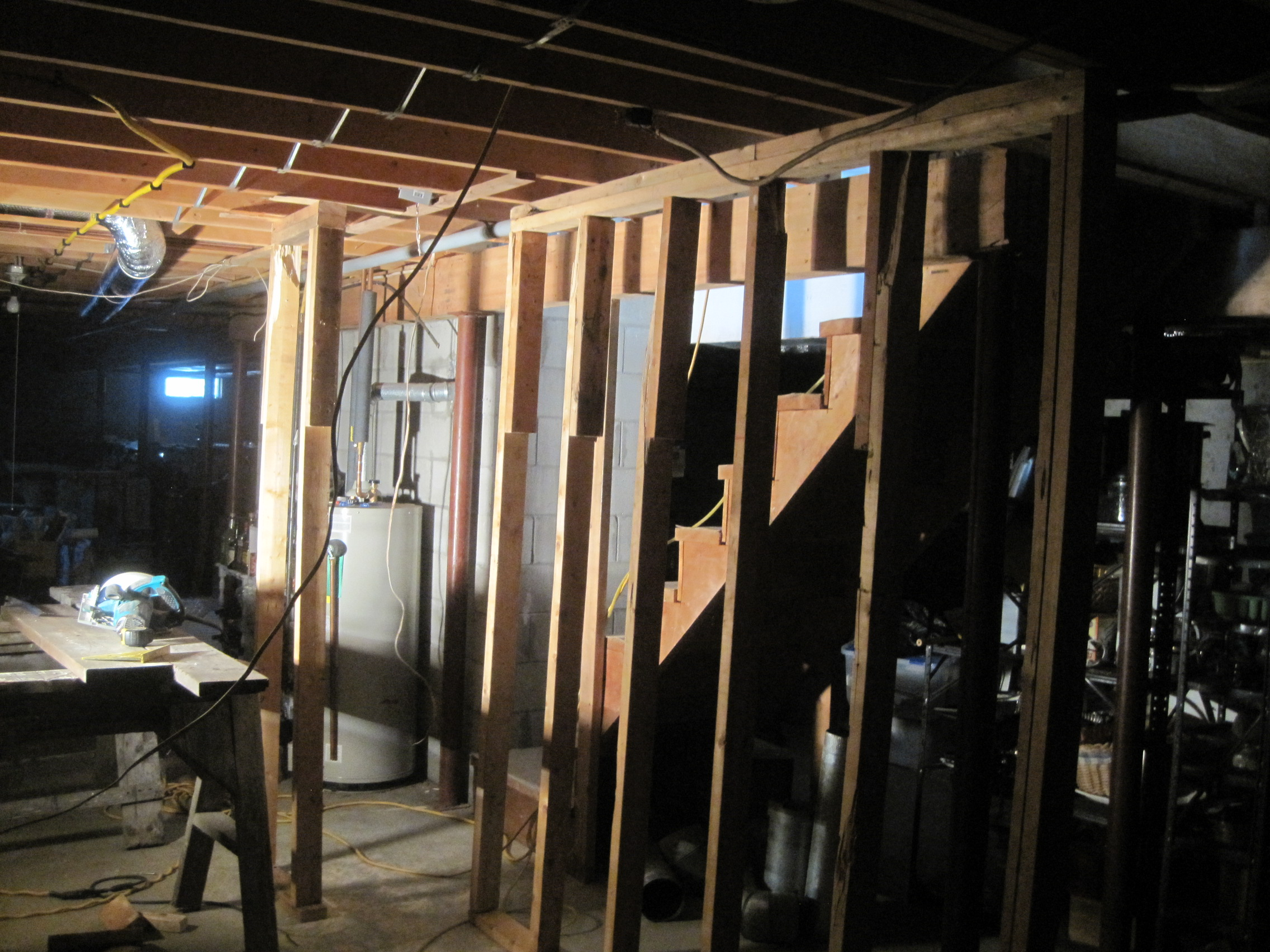 how to build a temporary wall in a basement