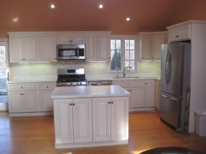 Island with cabinets